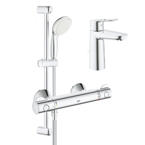 Pachet: Baterie cabina dus termostat Grohe Grohtherm 800-34565001, Baterie lavoar Grohe Bauloop mari